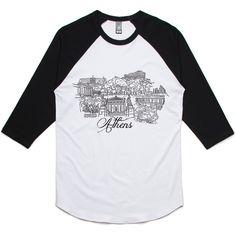 theIndie Beautiful Athens (Black) 3/4-Sleeve Raglan Baseball T-Shirt