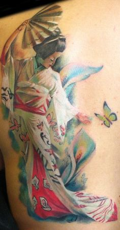 { geisha with butterflies tattoo }