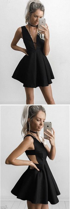 A-line Deep V-neck Little Black Dresses Little Homecoming Dresses ASD2483 Deep v-neck homecoming dresses, little black dress, party dress,