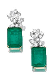 PAIR OF EMERALD AND DIAMOND EAR CLIPS