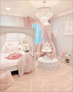 Gorgeous beautiful princess room The pink bedroom look is perfectly pulled of. Gorgeous beautiful princess room The pink bedroom look is perfectly pulled off. This awesome bedroom is a sight to behold. Pink Bedroom For Girls, Teen Girl Bedrooms, Baby Bedroom, Little Girl Rooms, Master Bedroom, Princess Bedrooms, Room Baby, Baby Girl Bedroom Ideas, Bedroom Small