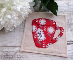 Fabric Coaster - Red Floral Mug - Applique Coaster £7.50