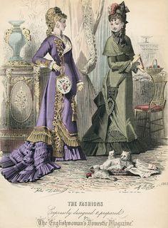 Noviembre de 1876 modas Inglaterra, Domestic la inglesa bolsillos Sombrilla Revista y gatitos!