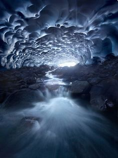 """✮ Deep Blue.  """"Inside a 30ft-high, 500ft-long snow cave with waterfalls in it."""""""
