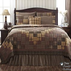 Country Rustic Brown Plaid Patchwork Twin Queen Cal King Size Quilt Bedding Set #VhcBrands