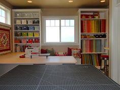 Fabric storage/cutting tables.