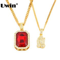 New Iced Out Pendant Necklace Set  Men's Gold Color Red Rhinestone Pendant Cuban Chain Full Stone Praying Hand Hiphop Necklace