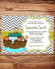 Noah's Ark Baby Shower Invitation, Ark Baby Shower, Elephant, Giraffe, Zebra, BOY, Girl, Gray, baby shower boy, girl. $20.00, via Etsy.