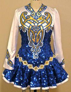 Sequined Blue Irish Dance Solo Dress #Irish_Dancing