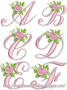 Free Embroidery: alphabet and fonts Embroidery Alphabet, Embroidery Monogram, Embroidery Fonts, Ribbon Embroidery, Embroidery Ideas, Sewing Machine Embroidery, Hand Embroidery Stitches, Free Machine Embroidery Designs, Applique Patterns