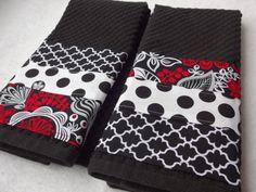 Cocina toalla cocina artesanal rojo blanco negro Set negro