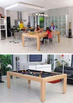 Pool Table Dining Table, Pool Table Room, Billiard Pool Table, Game Room Furniture, Outdoor Furniture Sets, Outdoor Decor, Ping Pong Table, Cool Rooms, Home Kitchens