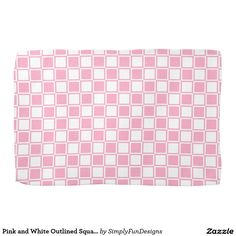 Pink and White Outlined Squares Towel