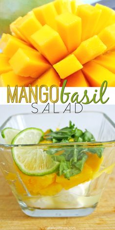 Super simple, one of my new favorites: Mango Basil Salad.  1 oz chopped mozzarella ½  mango chopped 4 large basil leaves 3 tbsp lime juice  and to make a full meal this goes perfect with white fish. Want more? Click the image to order my book with 77 new recipes.
