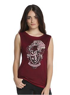 The Gryffindor crest. Wear it with pride // Harry Potter Gryffindor House Crest Oil Wash Girls Muscle Top