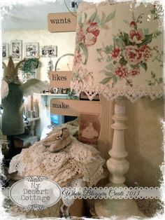Sharing my love of all things vintage, and aged with the patina of time. I Love Lamp, Lampshades, Welcome, Projects To Try, Shabby Chic, Cottage, Diy Crafts, Inspiration, Studio Tours
