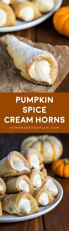 Pumpkin Spice Cream Horns! Delicate and flaky puff pastry filled with creamy pumpkin spice filling. They are THE delicious embodiment of fall! | HomemadeHooplah.com