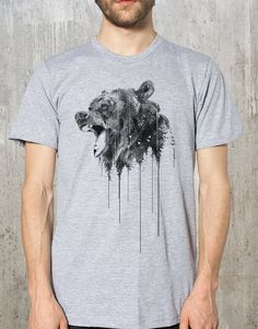 Grizzly Bear Above Treeline - Men's Screen Printed American Apparel T-Shirt - Available in S, M, L, XL and XXL on Etsy, $24.00