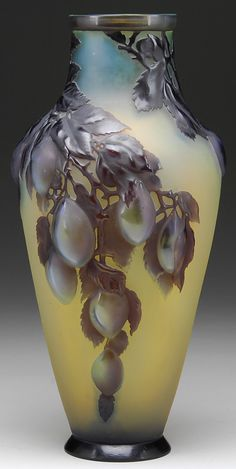 Emile Gallé: blown shoulder vase with plums
