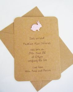 Baby Birth Announcement Cards by LittleDarlingsUK on Etsy, £12.00