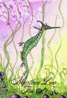 Seadragon Fantasy Watercolor painting by Martina Loos