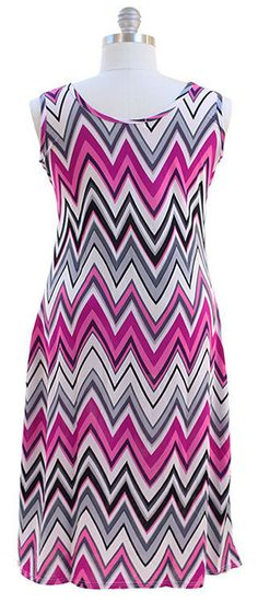 Pretty Plus size Chevron Maxi Dress - Pink 1X 2X 3X #NEWYORKANNA #Maxi #Formal