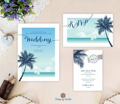 Destination wedding invitations | Roayal blue, turquoise beach wedding set: invitation, RSVP, enclosure card | Sea boat, palm tree invite by OnlybyInvite on Etsy