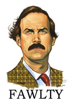 Basil Fawlty by Dave Stokes, currently featured at Planet Pulp.