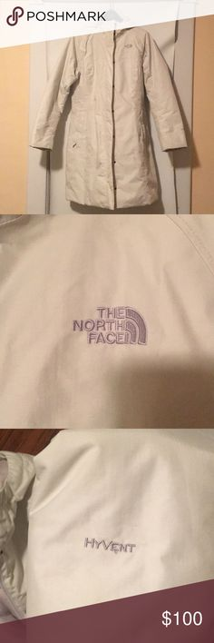 Women's North Face Hyvent Parka in Ivory Size XL Very warm, knee length, machine washable, gently worn. I wish I wasn't selling this jacket but it is no longer my size. The North Face Jackets & Coats