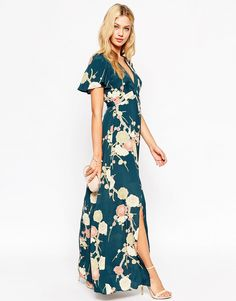 Imagen 4 de Vestido largo cruzado con estampado floral de ASOS WEDDING
