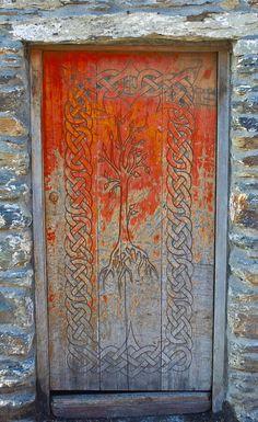 Door faded orange Bantry, County Cork, Ireland door