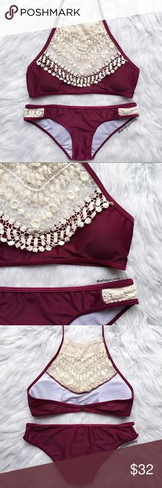 maroon and crochet lace high neck bikini set •size: S  •from my boutique line but it's been worn once, and hand washed once. didn't like the color on me so getting rid of. no flaws 💕  •no trades  ⚠️ if this item does not fit you CANNOT return it - poshmark policy B-Long Boutique  Swim Bikinis