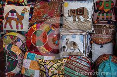 Composition of decorative pillows in a bazaar