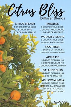 Great Essential Oil Tips And Techniques For citrus essential oil benefits Citrus Essential Oil, Essential Oil Diffuser Blends, Doterra Essential Oils, Natural Essential Oils, Doterra Diffuser, Doterra Citrus Bliss, Essential Oil Combinations, Aromatherapy Oils, Aromatherapy Recipes