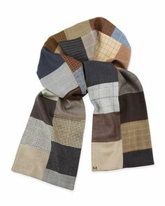 One-of-a-Kind Patchwork Check Scarf, Multi by Margo Petitti at Neiman Marcus.