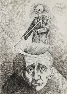 Roland Topor (French, 1938-1997) Self-portrait with the Grim Reaper, N/D