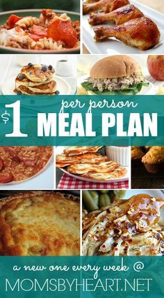 Need some ideas for quick, easy, and inexpensive meals? Check out this week's $1 Per Person Menu Plan & Shopping List over at Moms By Heart. save money on food frugal meal ideas, meal planning tips and budget recipes!
