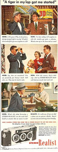 stereo realist, 1950's, advertising, cameras