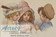 This adorable counted cross stitch pattern adorable pattern of three children was designed from an antique print. Just Cross Stitch, Cross Stitch Charts, Cross Stitch Patterns, Victorian Cross Stitch, Three Kids, Antique Prints, Vintage Images, Needlepoint, Winnie The Pooh