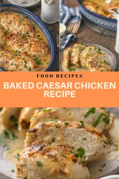 Caesar Chicken is the perfect melt in your mouth chicken recipe! It's creamy, simple, and filled with flavor. This easy chicken recipe only. Night Dinner Recipes, Lunch Recipes, Appetizer Recipes, Real Food Recipes, Cooking Recipes, Healthy Recipes, Dinner Ideas, Cooking Time, Quick Chicken Recipes