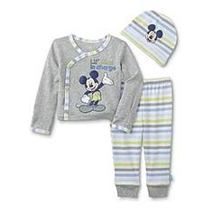 Disney Baby Mickey Mouse Newborn Boy's Graphic Shirt, Pants & Beanie Hat