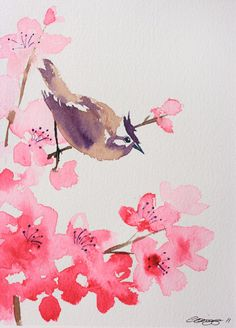Cherry Blossom & Bird original watercolour by carolinegrigg, $46.68