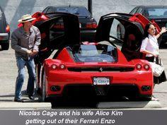 Nicolas & Alice Cage with their Ferrari Enzo.