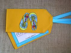 Flip flops luggage tags.  Colorful flip flops and matching ribbon will make your luggage stand out.  Handmade just for you.