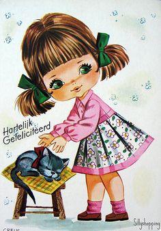 Vintage Big Eyed Girl Postcard   Flickr - Photo Sharing!