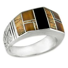 R118 Native Earth - Featuring a faceted gemstone this design uses the Native Earth stone combination featuring Sierra Nevada black jade, jasper and tiger eye to produce these stunning, desert at night, earth tones.