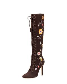 Corinna Floral-Embroidered Suede Boot by Jimmy Choo at Bergdorf Goodman.