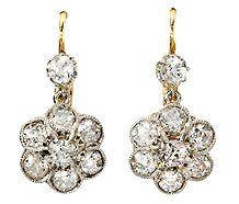Diamond Floral Cluster Drop  Earrings