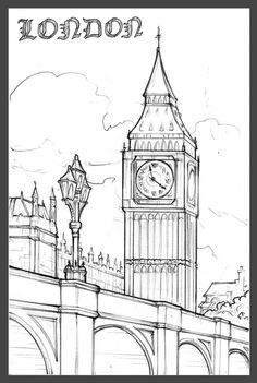 Big Ben Drawing, Wall Drawing, Sketch Drawing, Sketches, London Sketch, London  Drawing, Pointillism Tattoo, Art Ideas, Doodle