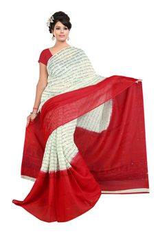 Fabdeal Red and White Quikry Prints Linen Silk Printed Saree